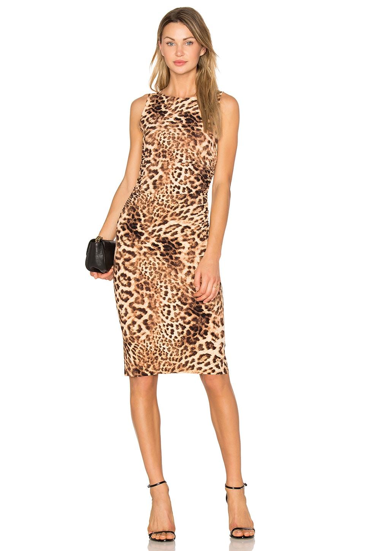 Norma Kamali Shirred Waist Dress in Caramel Leopard