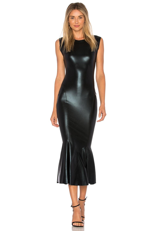Norma Kamali Sleeveless Midi Dress in Black Foil