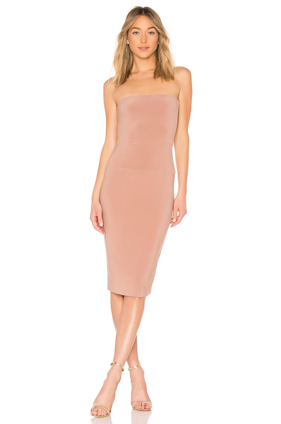 Norma Kamali x REVOLVE Strapless Dress in Rose Gold