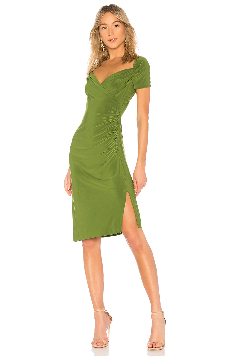 Sweetheart Side Drape Dress in Green Norma Kamali GhfTAA42d