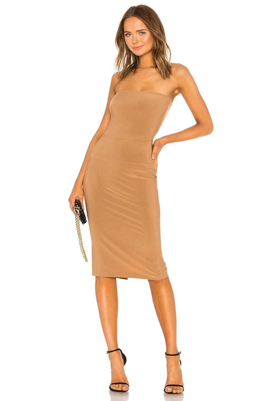 Norma Kamali x REVOLVE Strapless Dress in Suntan