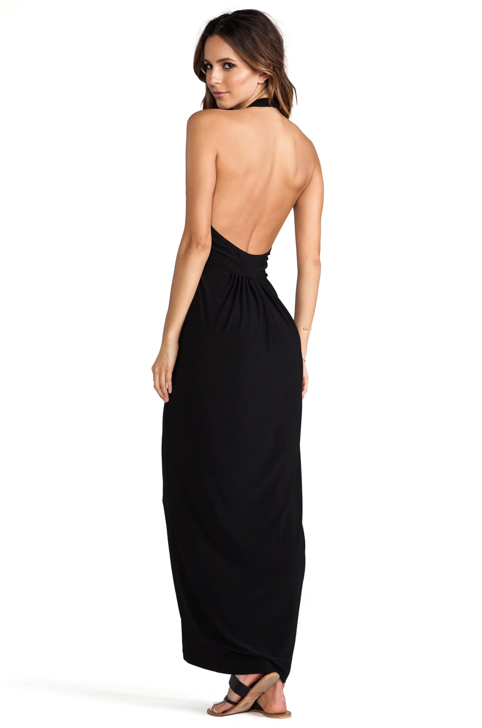 Norma Kamali Cross Halter Gown in Black