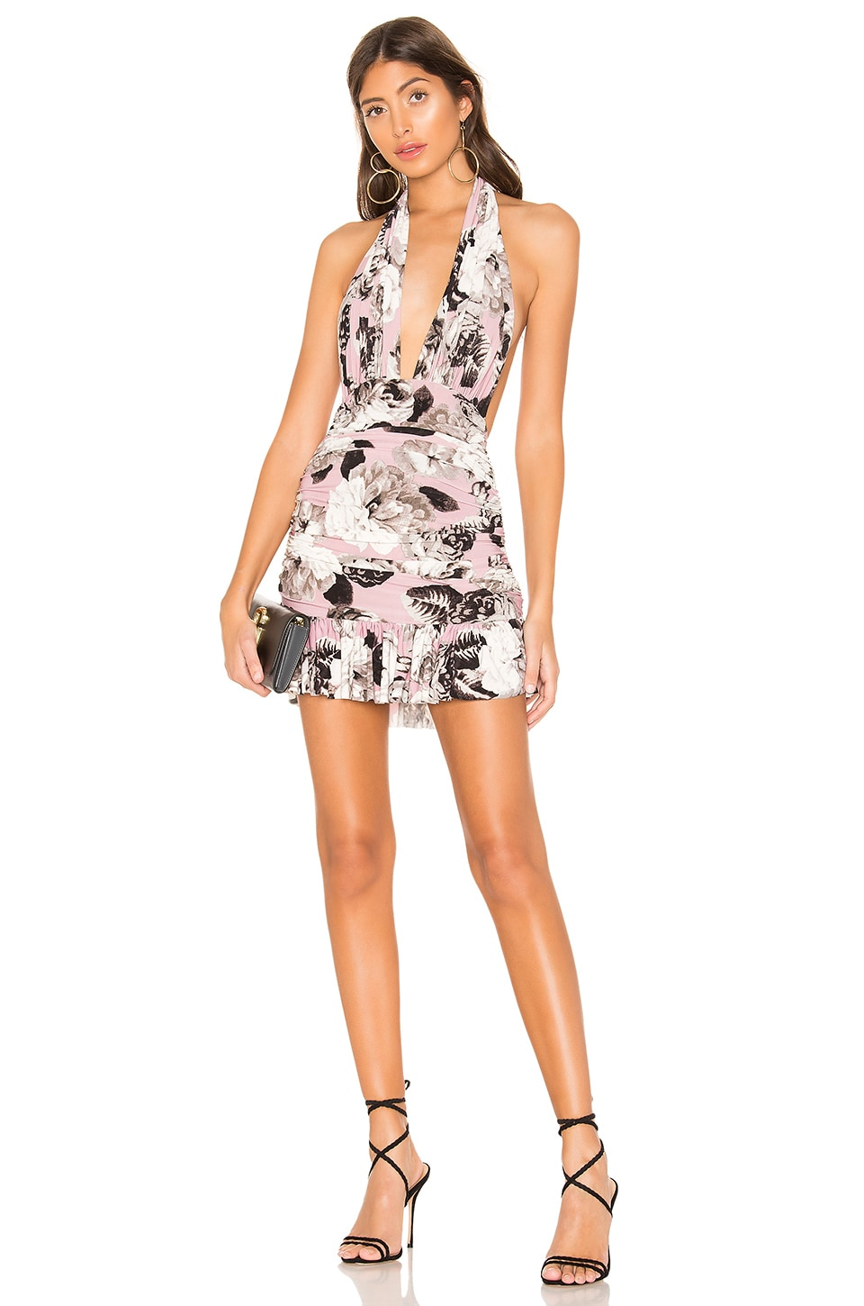 Norma Kamali Ruffle Halter Mio Mini Dress in Pink Peonies