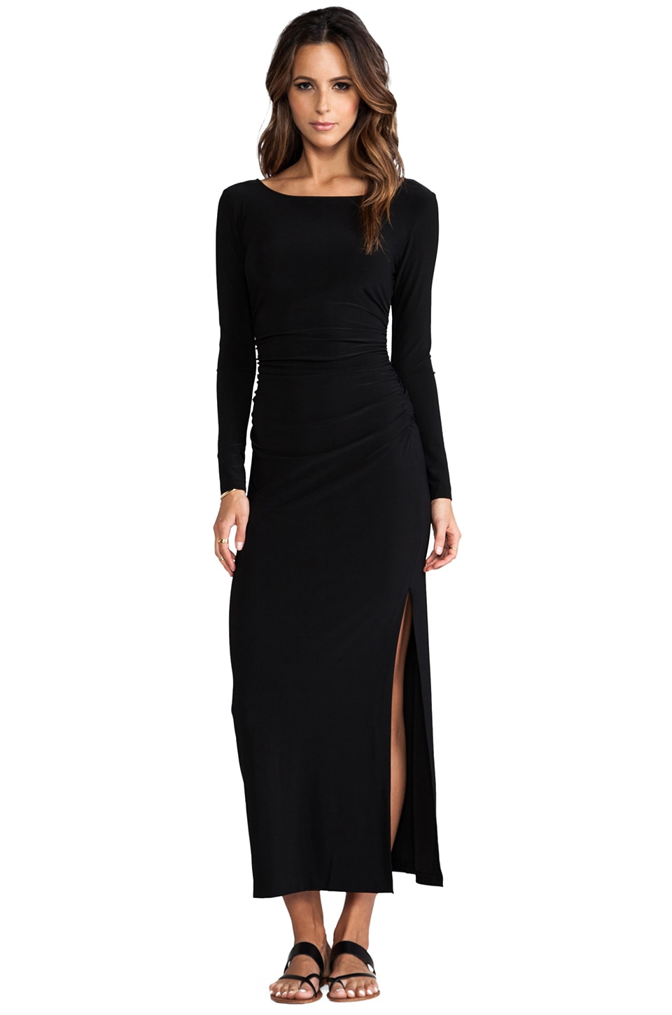 Norma Kamali Long Sleeve Shirred Waist Maxi Gown in Black