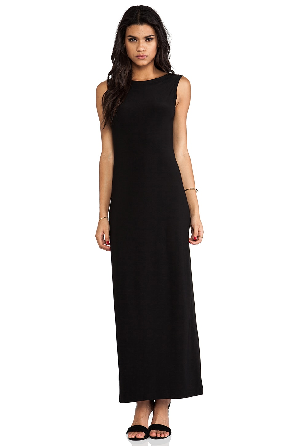 Norma Kamali V Back Neck Gown in Black