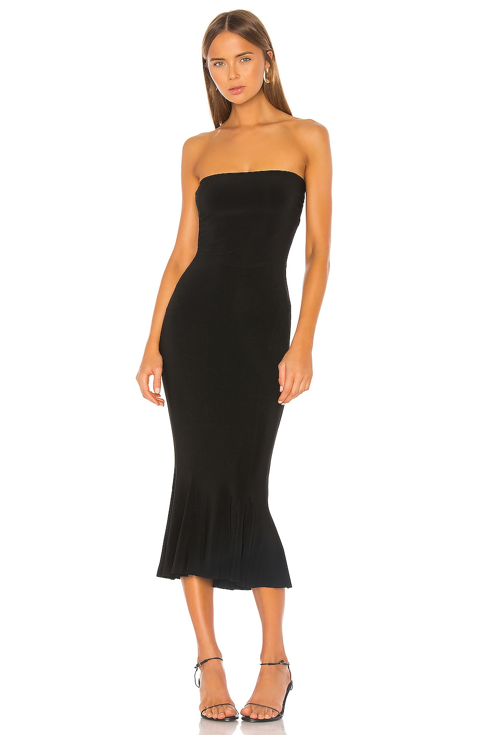 Norma Kamali Strapless Fishtail Dress in Black