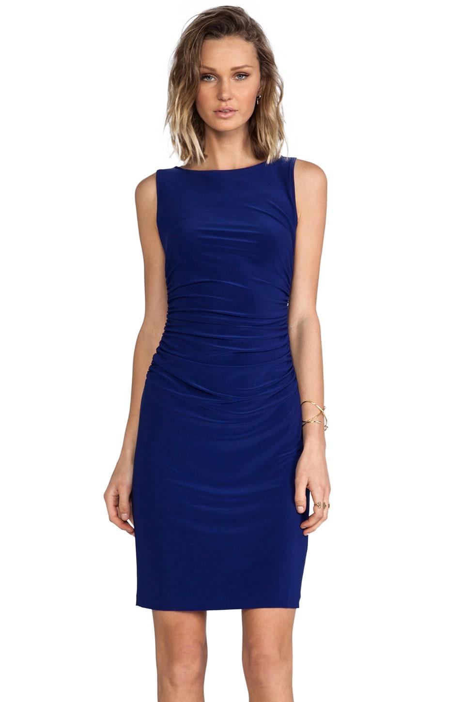 Norma Kamali Sleeveless Shirred Waist Dress in Blueberry