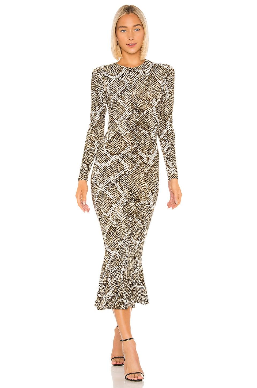 Norma Kamali Crew Fishtail Dress in Scale Python