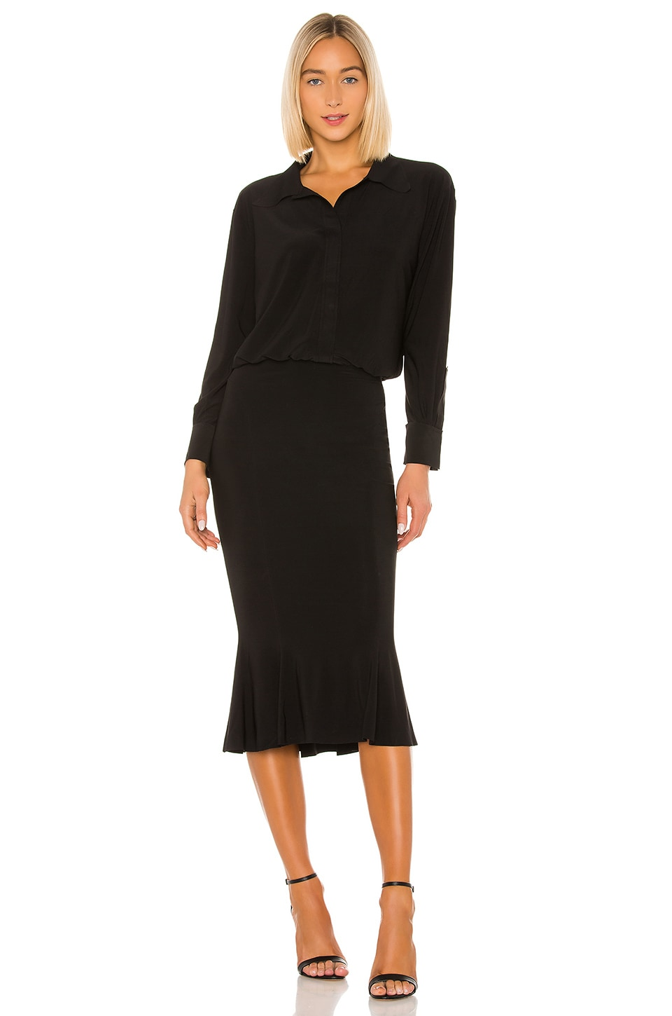 Norma Kamali Boyfriend Shirt Fishtail Dress in Black