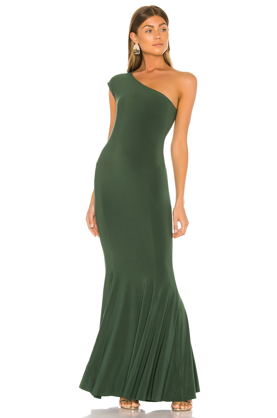 Norma Kamali One Shoulder Fishtail Gown in Forest Green