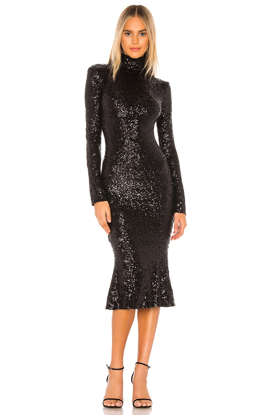 Norma Kamali Sequin Fishtail Dress in Black