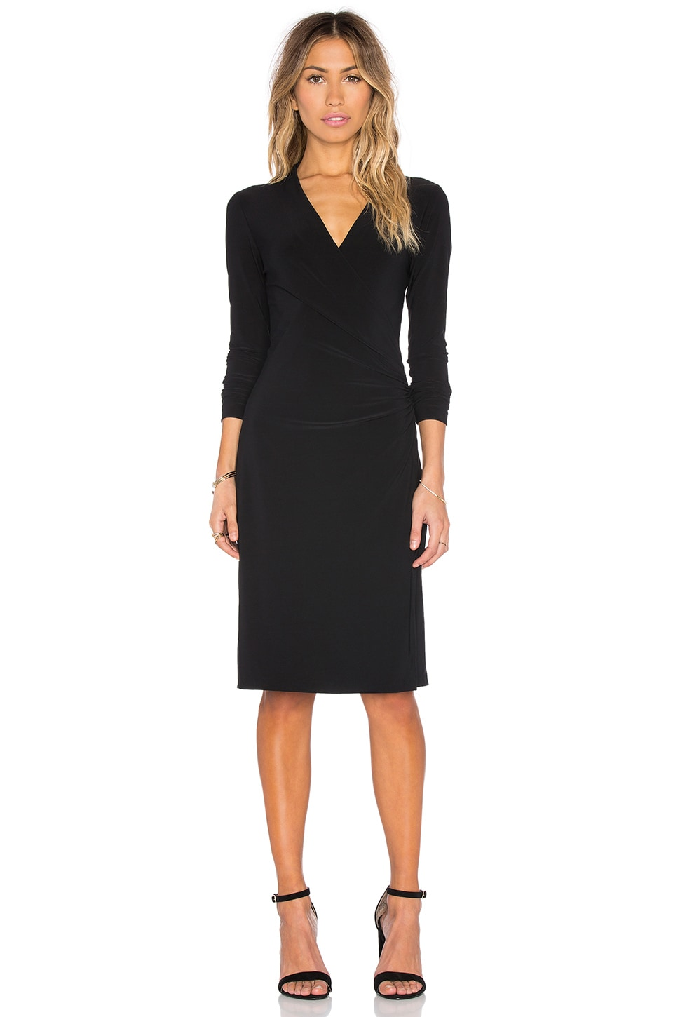 Norma Kamali KAMALIKULTURE Long Sleeve Side Draped Dress in Solid Black