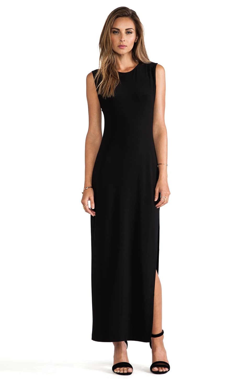 Norma Kamali KAMALIKULTURE Sleeveless Maxi Dress in Solid Black