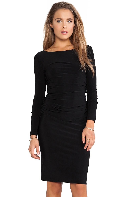 Norma Kamali KAMALIKULTURE Long Sleeve Shirred Waist Dress in Solid Black