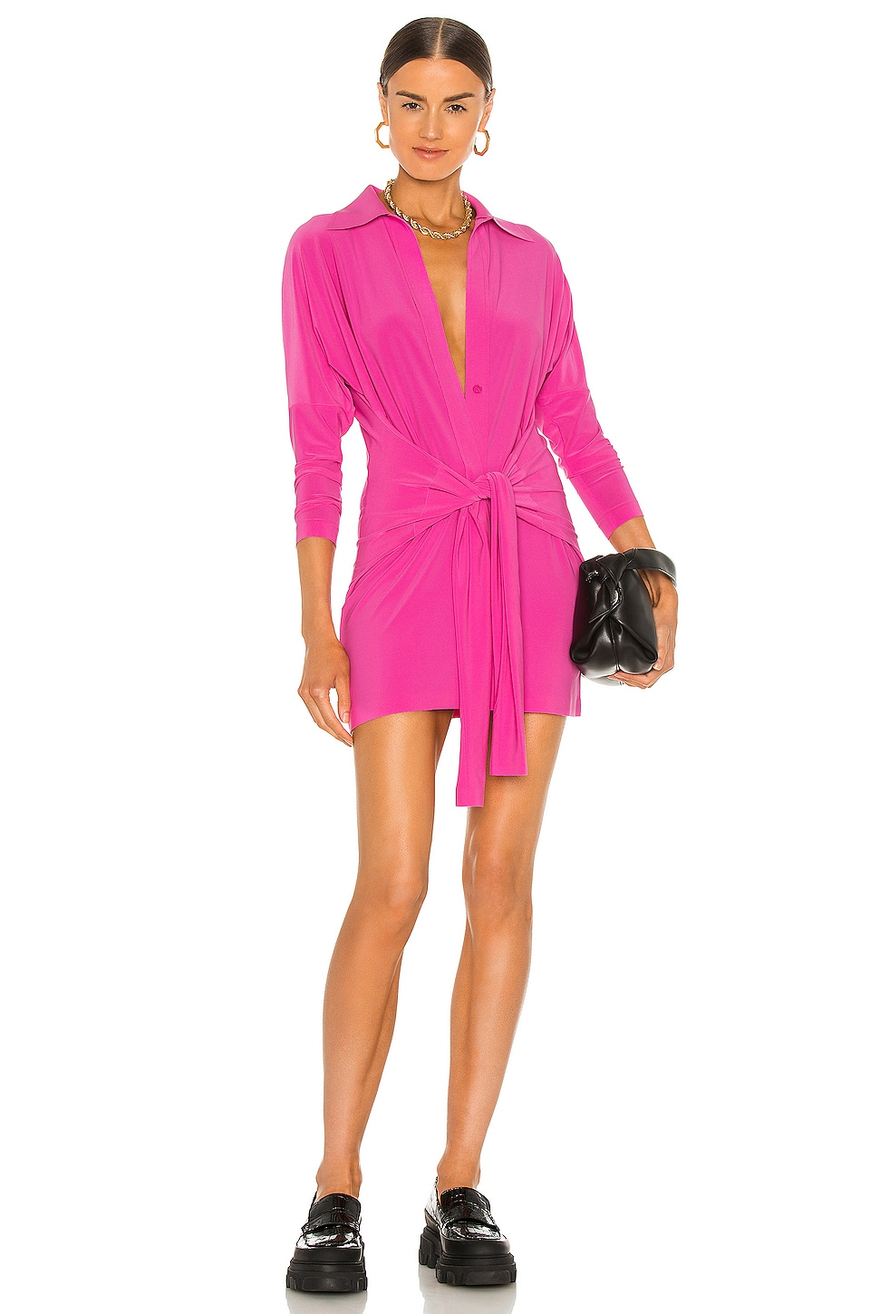 Norma Kamali x REVOLVE Mini Tie Front NK Shirt Dress in Orchid Pink