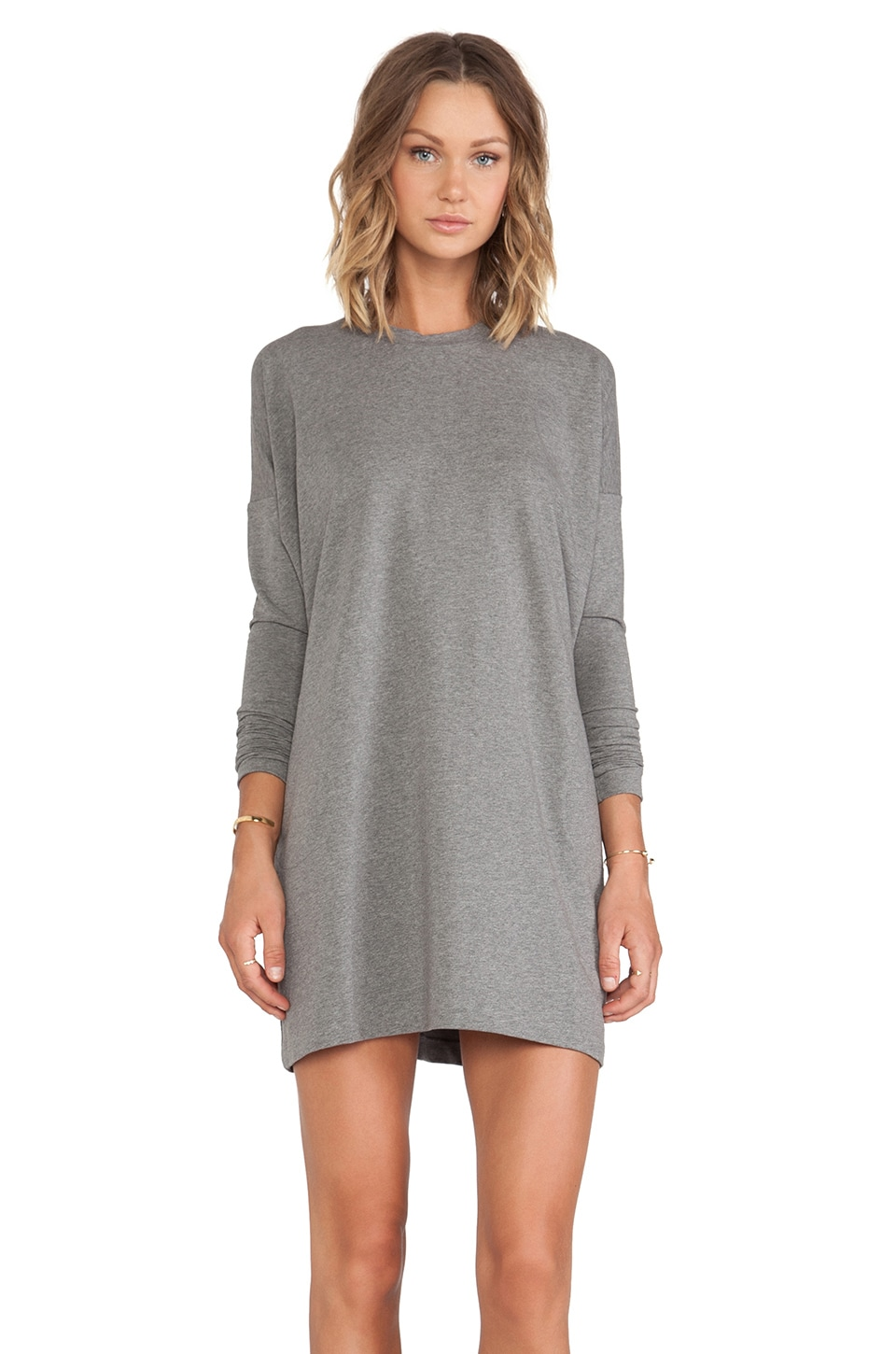 Norma Kamali Crew Neck Tunic Dress in Dark Grey