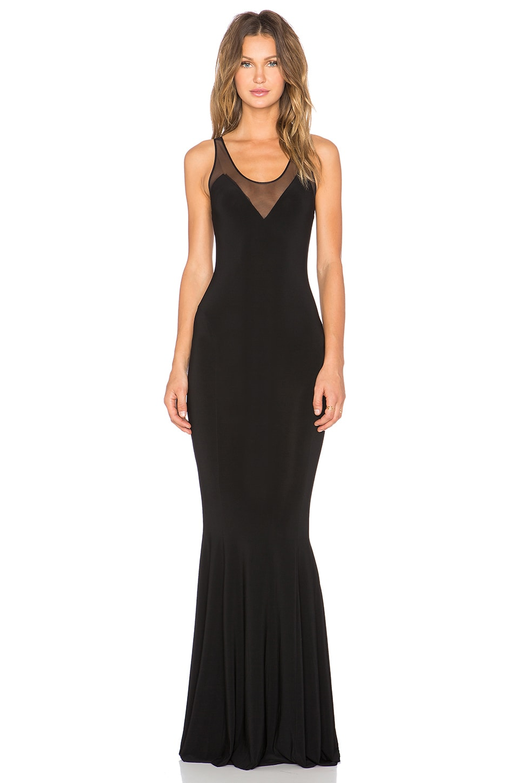 Norma Kamali KAMALI KULTURE Racerback Fishtail Maxi Dress in Black & Black Mesh