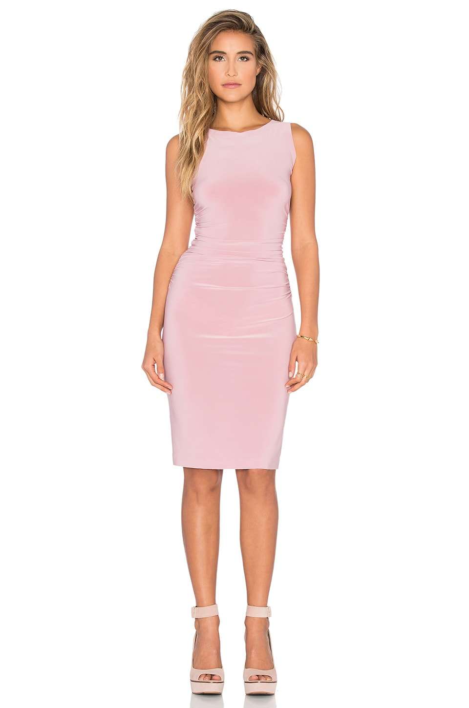 Norma Kamali KAMALIKULTURE Shirred Waist Dress in Pink