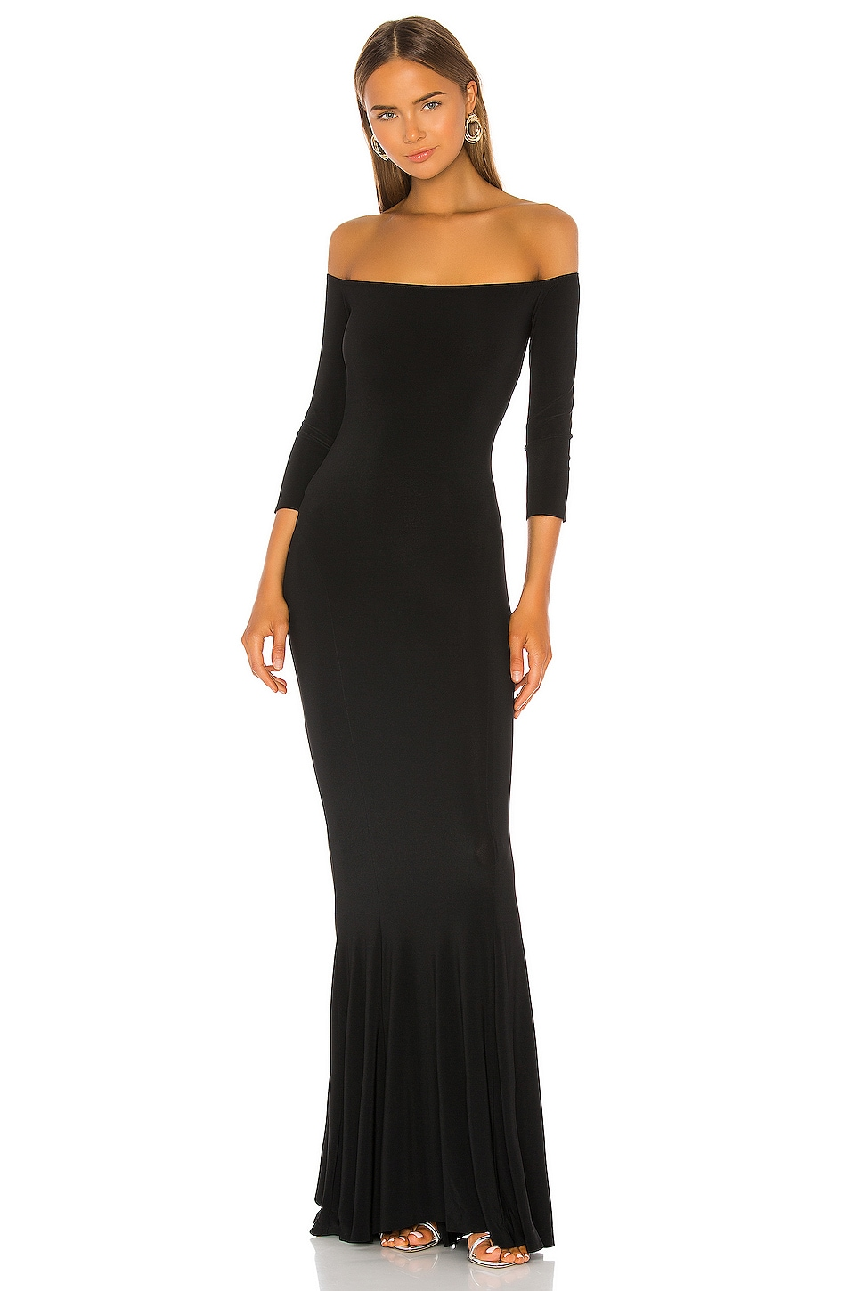 Norma Kamali Off the Shoulder Fishtail Gown in Black
