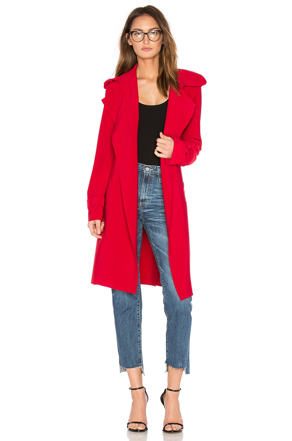 Norma Kamali Double Breasted Bonded Trench in Red