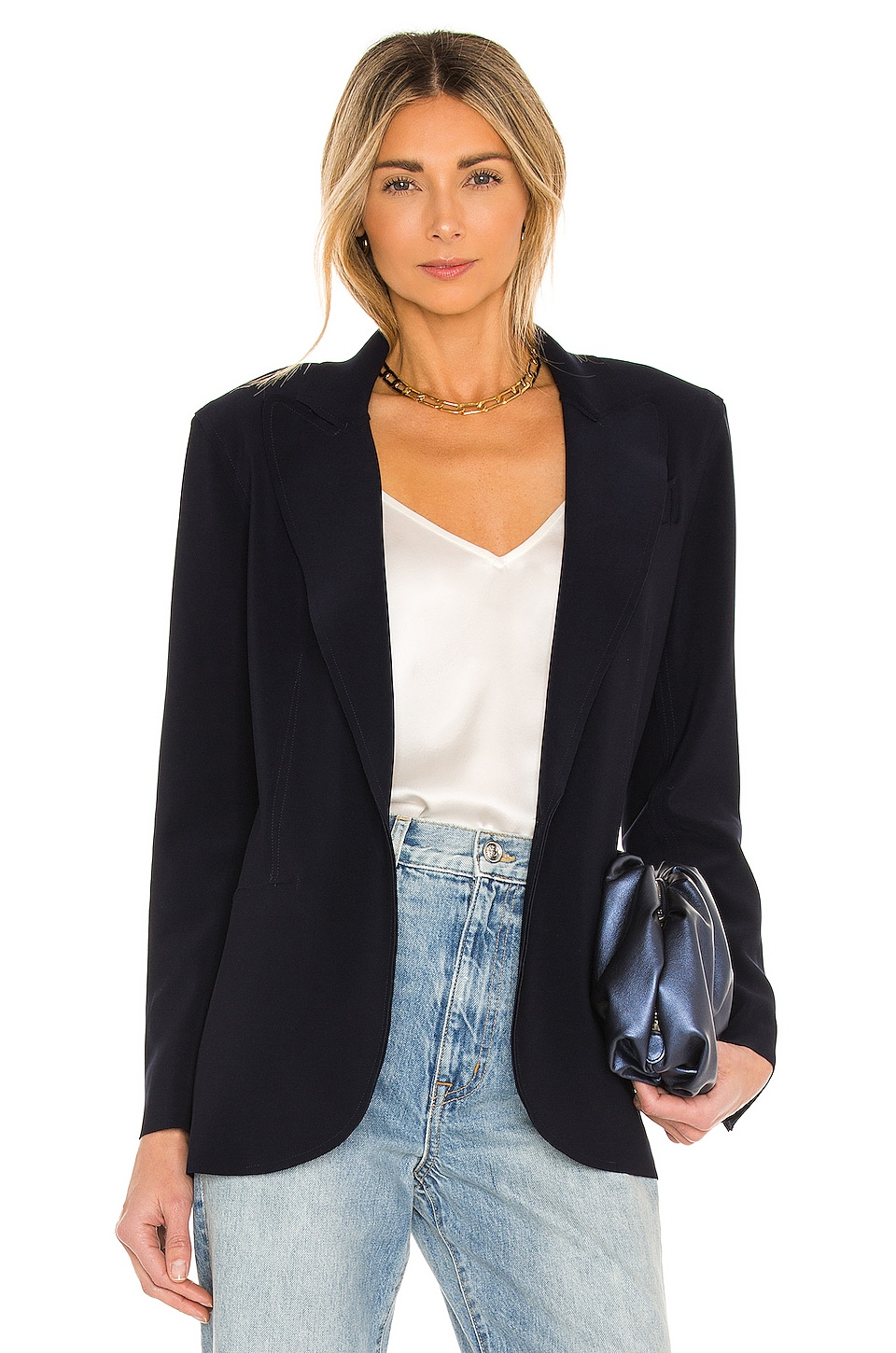 Norma Kamali Single Breasted Jacket in Midnight