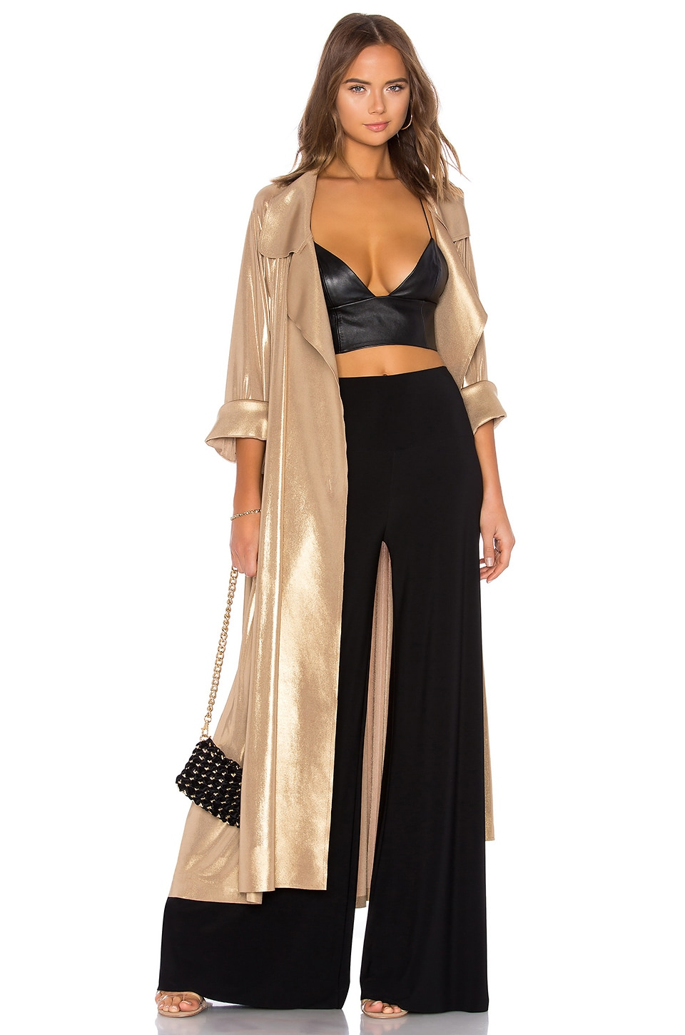 Norma Kamali 80's Flared Trench in Gold