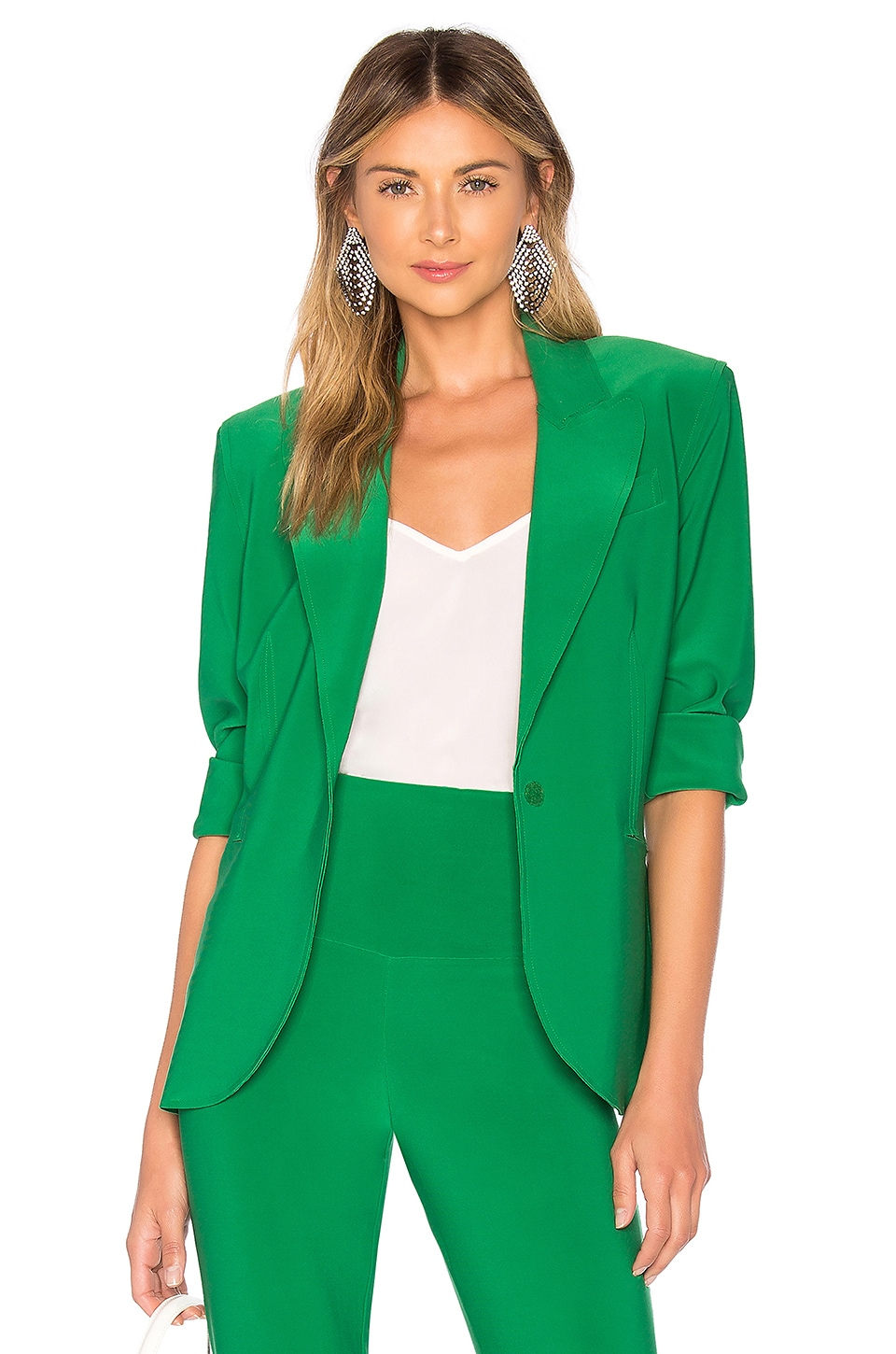 Norma Kamali X REVOLVE Single Breasted Jacket in Kelly Green