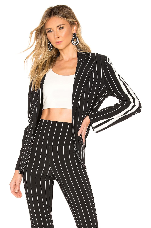 Norma Kamali Side Stripe Single Breasted Jacket in Black Stripe & Engineered Stripe