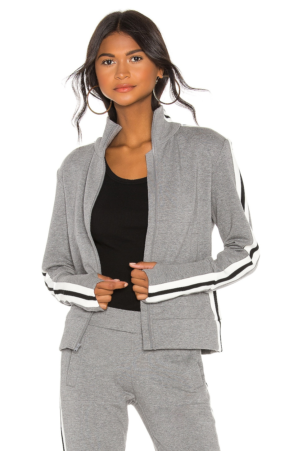 Norma Kamali Side Stripe Turtle Jacket in Medium Heather Grey & Engineered Stripe