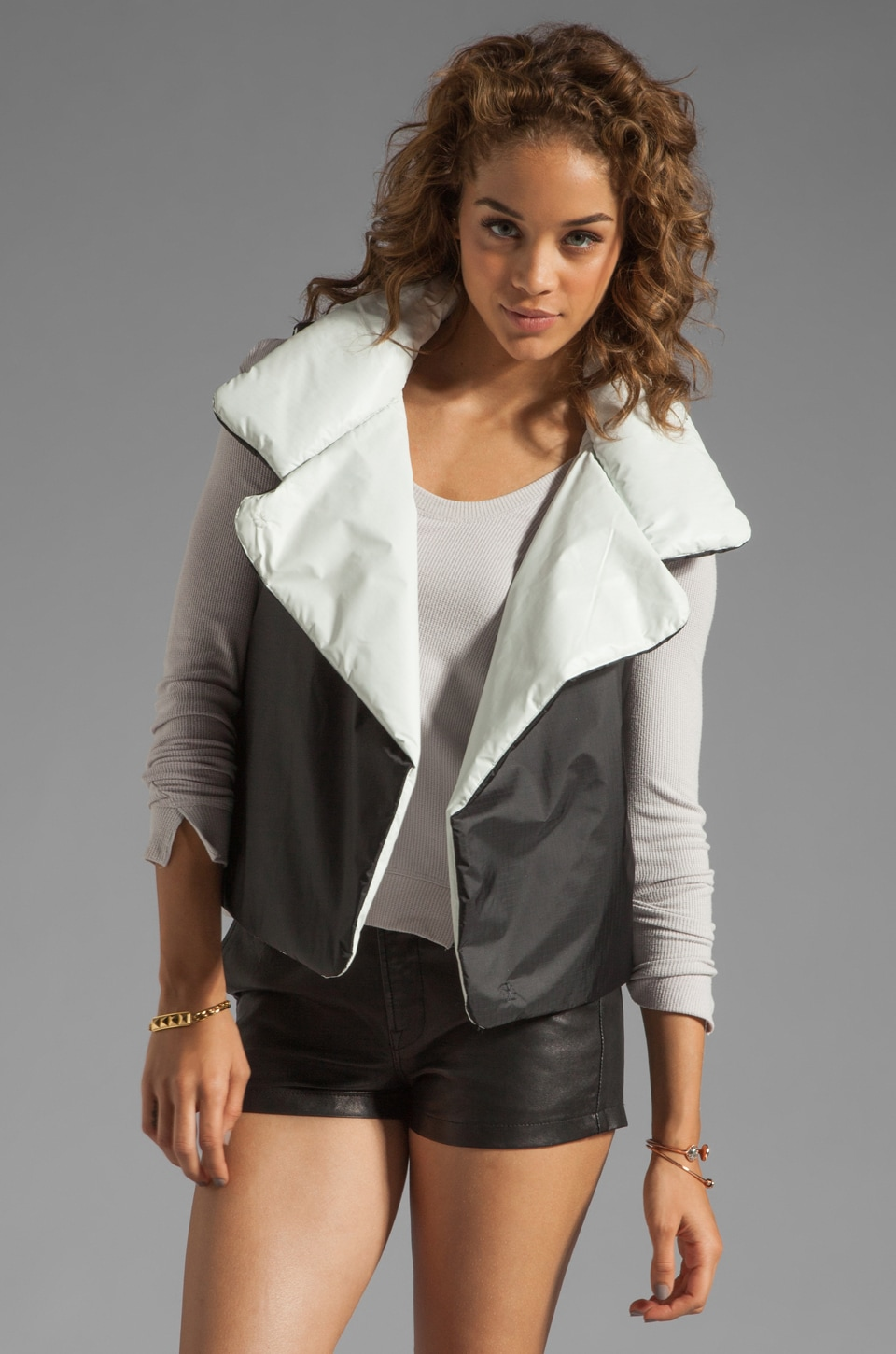 Norma Kamali Nylon Sleeping Vest Reversible Coat in Black/White