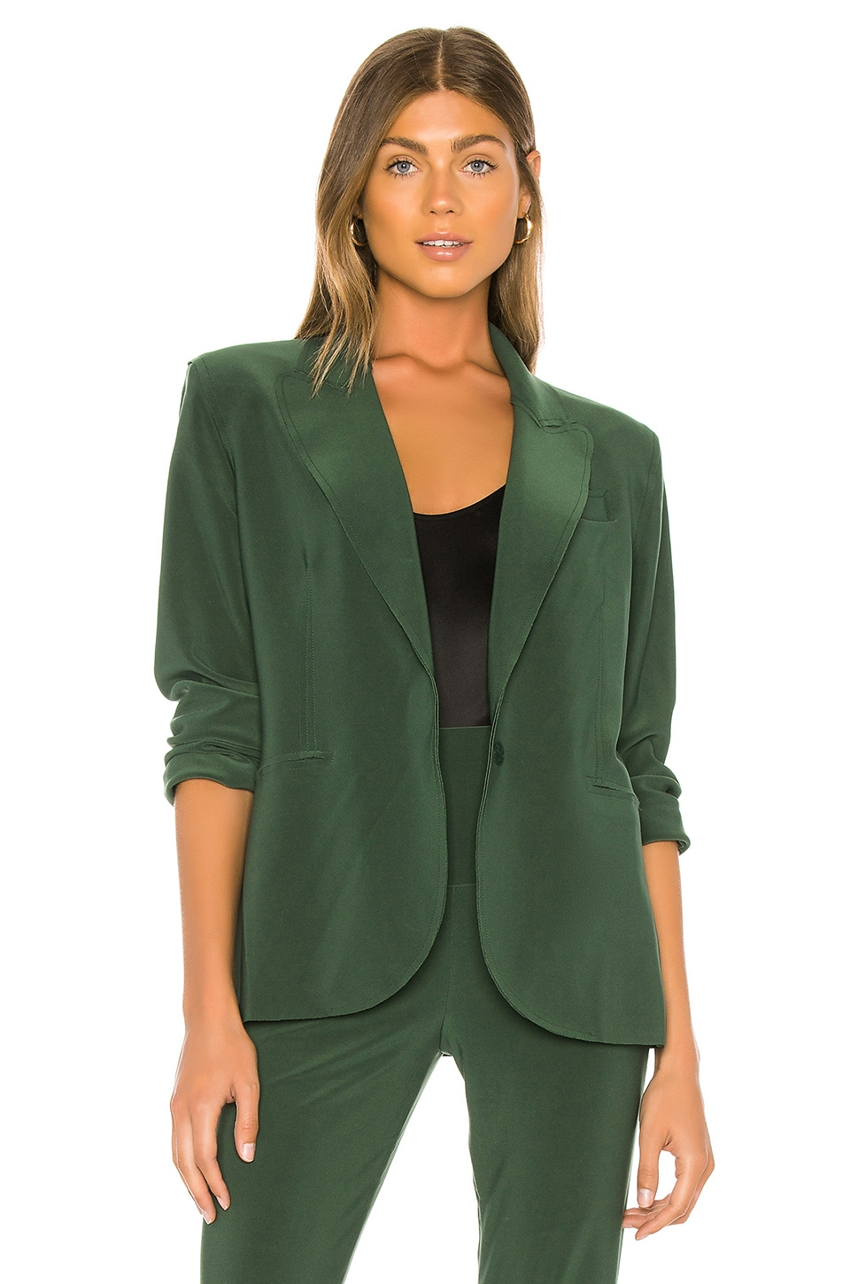 Norma Kamali Single Breasted Jacket in Forest Green