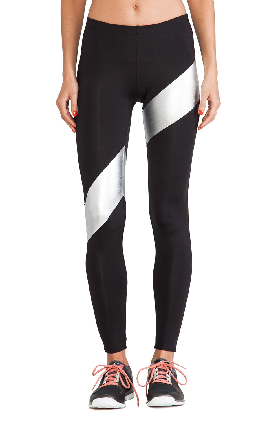 Norma Kamali Spliced Diagonal Legging in Black & Silver Foil