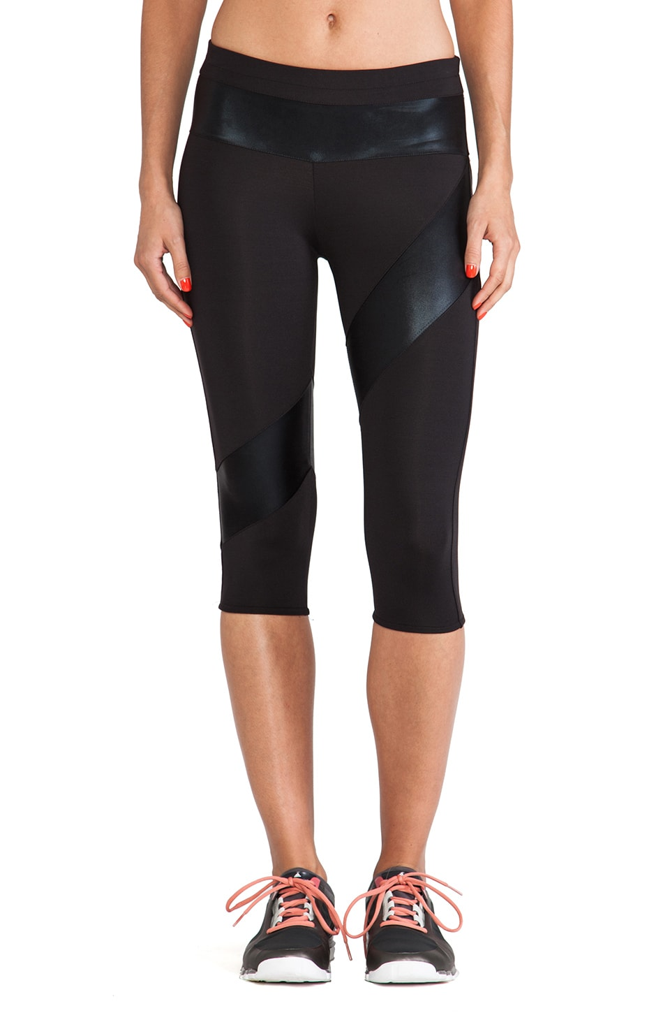 Norma Kamali Spliced Diagonal Capri Legging in Black & Black Foil
