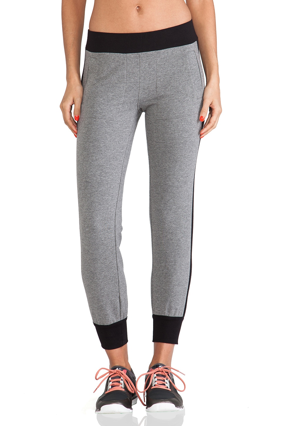 Norma Kamali Side Stripe Jogging Pants in Dark Grey & Black