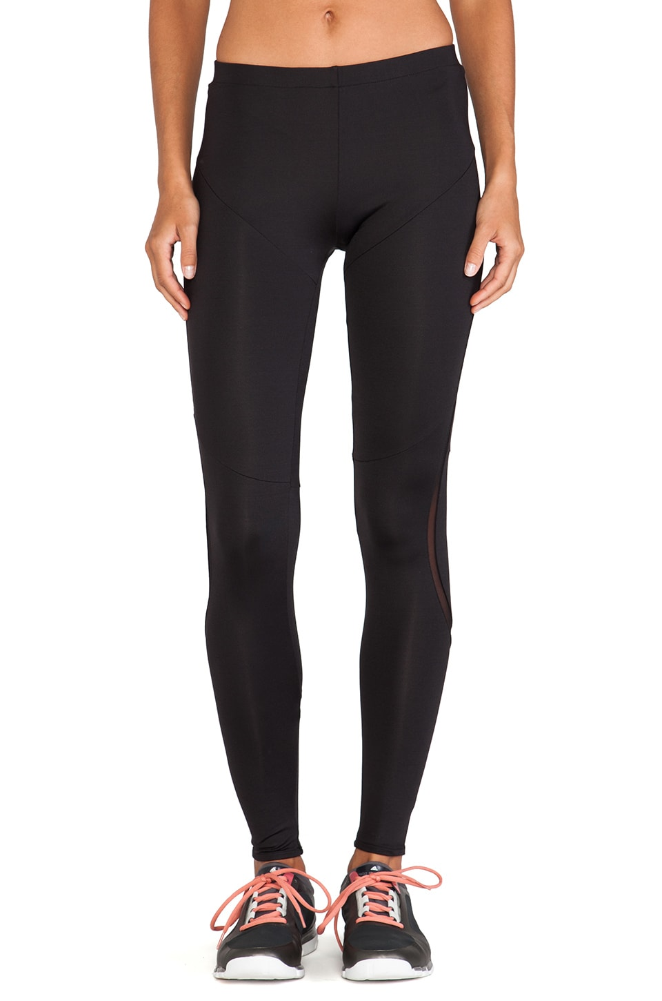 Norma Kamali Diagonal Mesh Insert Legging in Black