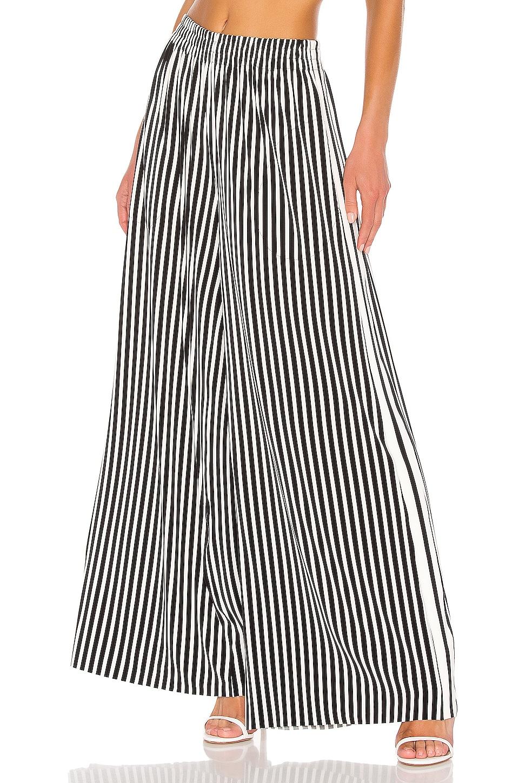 Norma Kamali Side Stripe Boyfriend Elephant Pant in Uneven Stripe & Engineered Stripe