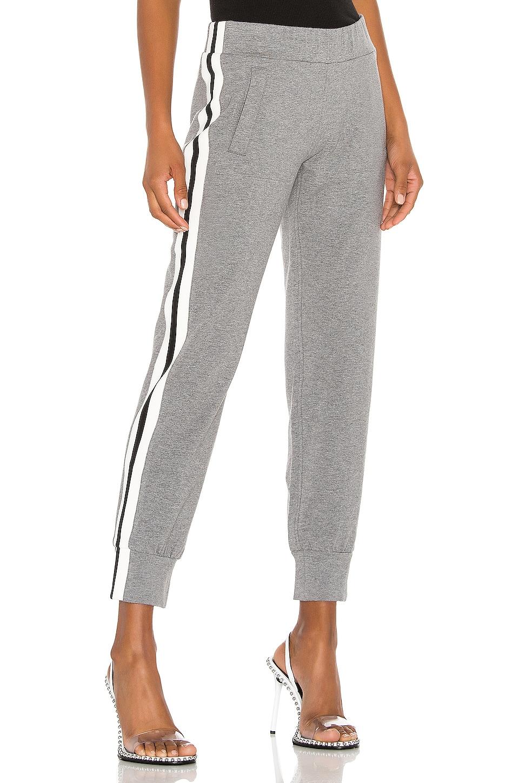 Norma Kamali Side Stripe Jog Pant in Medium Heather Grey & Engineered Stripe