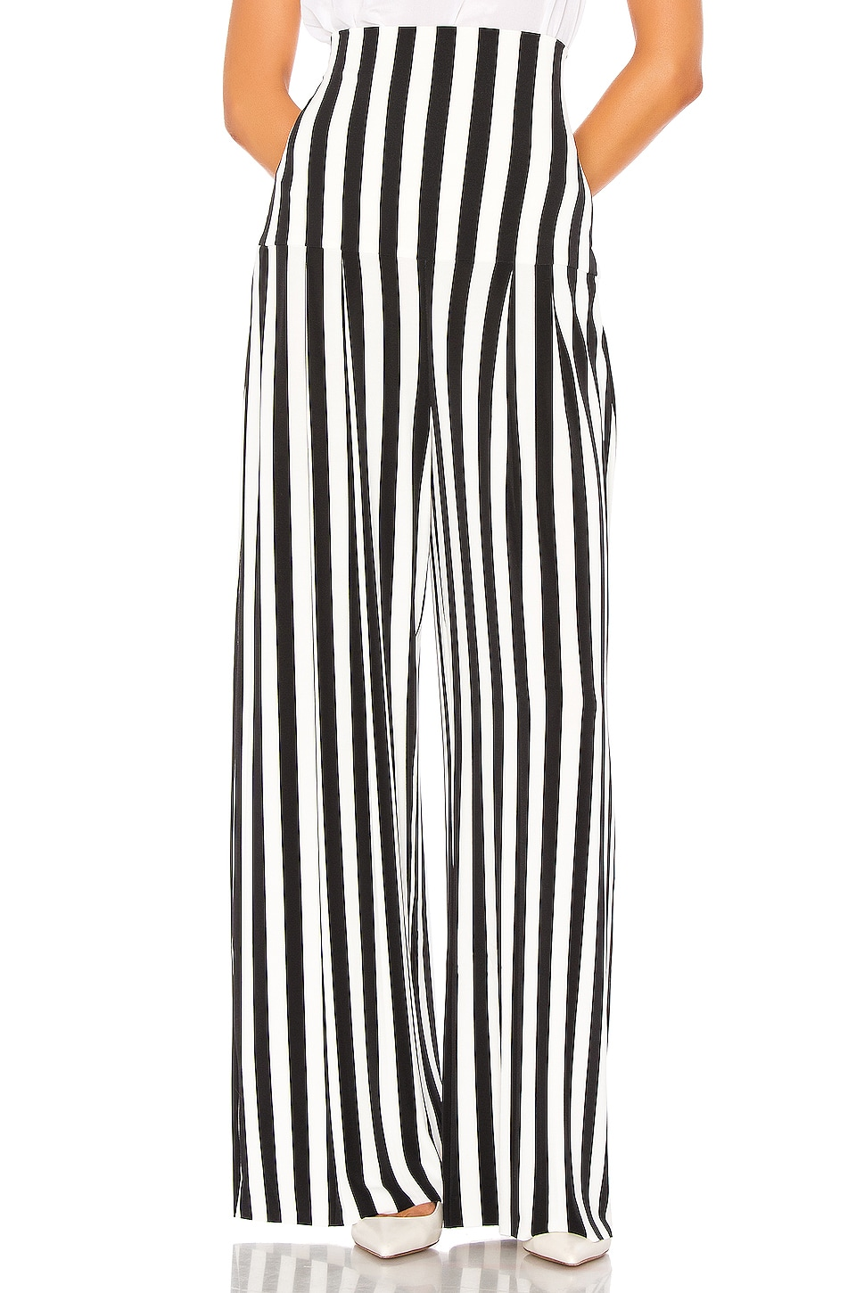 Norma Kamali High Waist Pleat Pant in Stripe