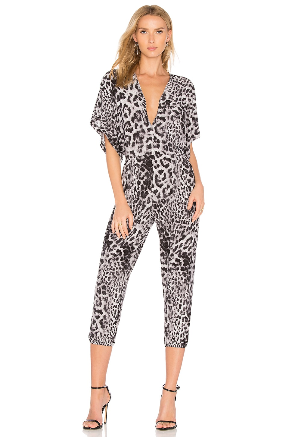 Norma Kamali Rectangle Jog Jumpsuit in Grey Leopard