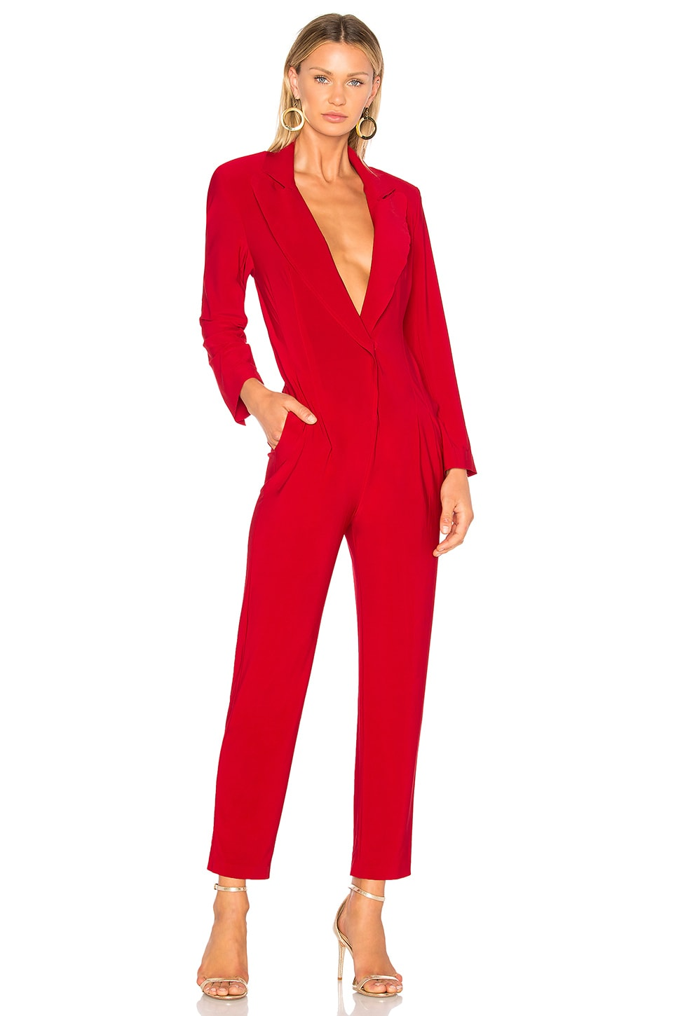 Norma Kamali Single Breasted Jumpsuit in Red