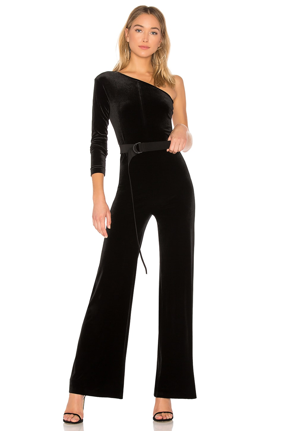 Norma Kamali One Shoulder Jumpsuit in Black