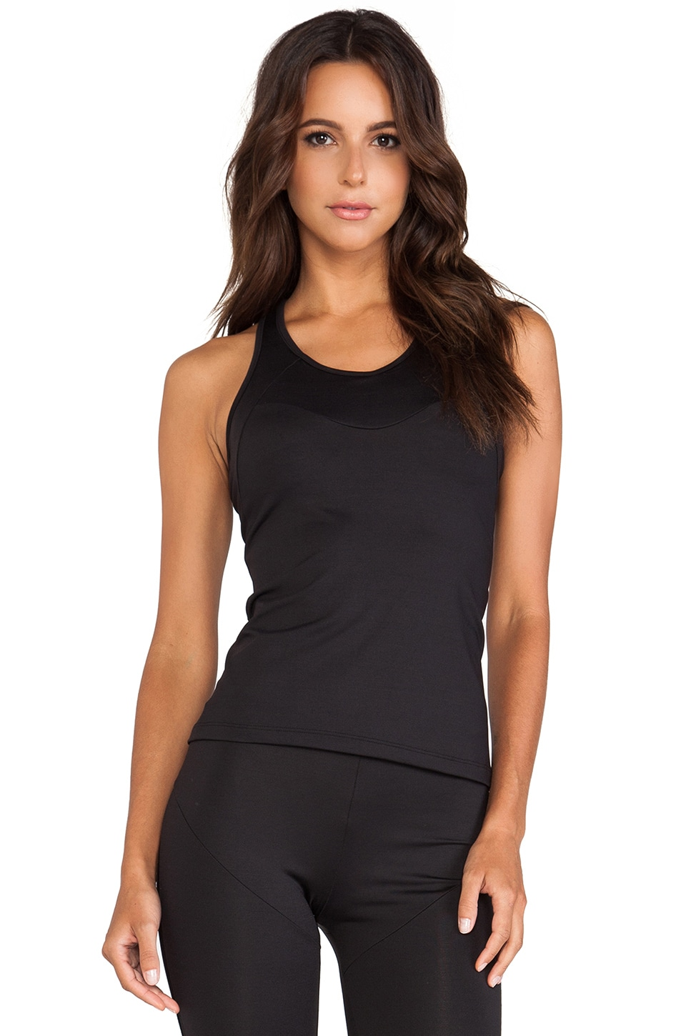 Norma Kamali Racer Active Tank in Black