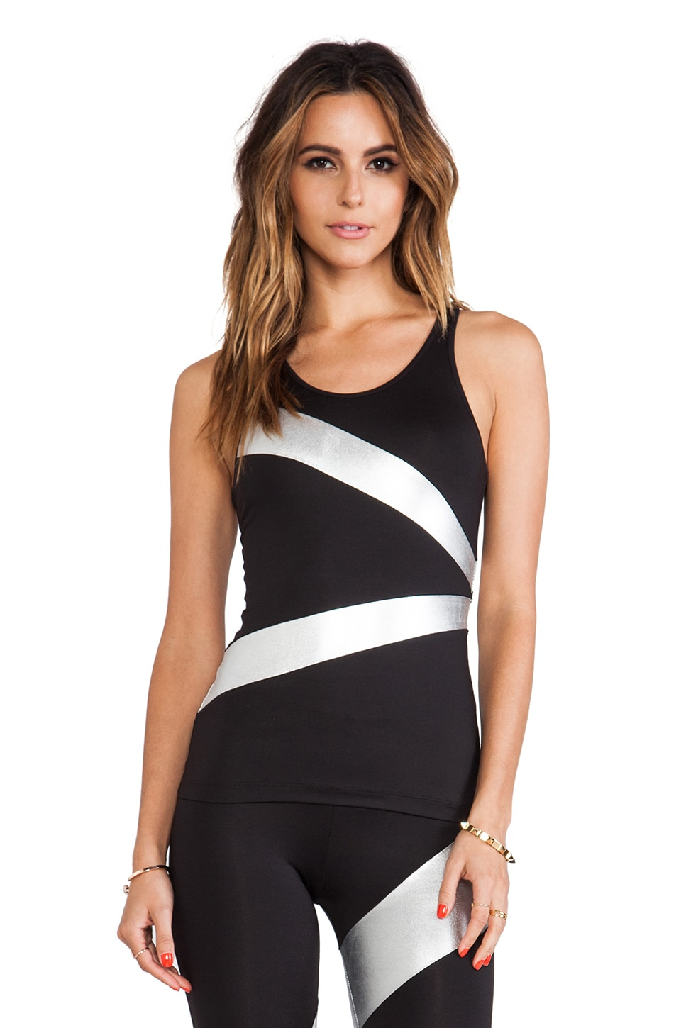 Norma Kamali Spliced Racer Tank in Black & Silver Foil