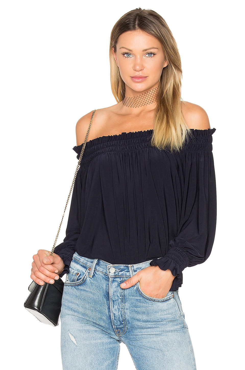 Norma Kamali Peasant Top in Midnight