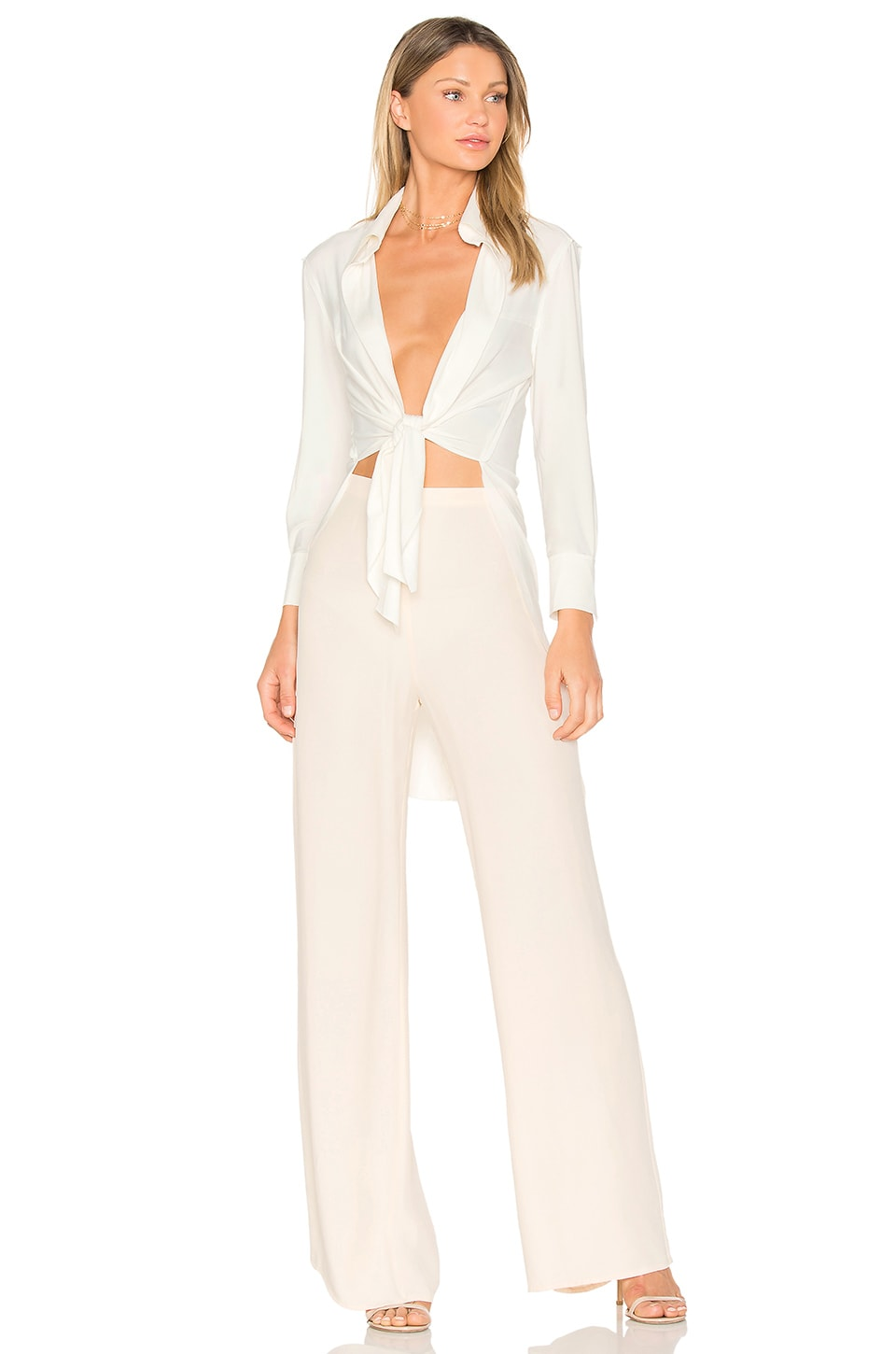 Norma Kamali Tie Front Shirt in Ivory