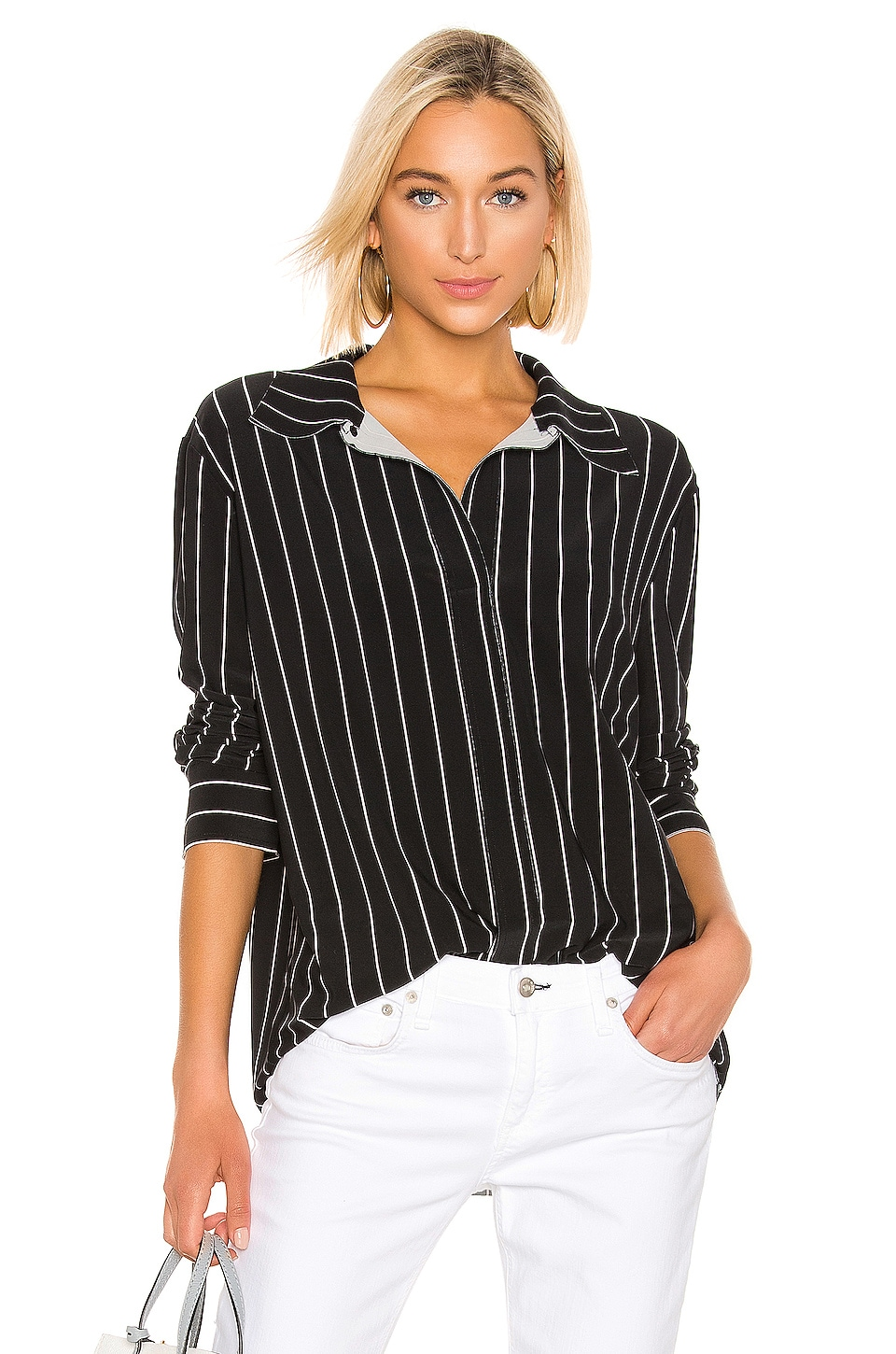 Norma Kamali Boyfriend NK Shirt in Black Stripe