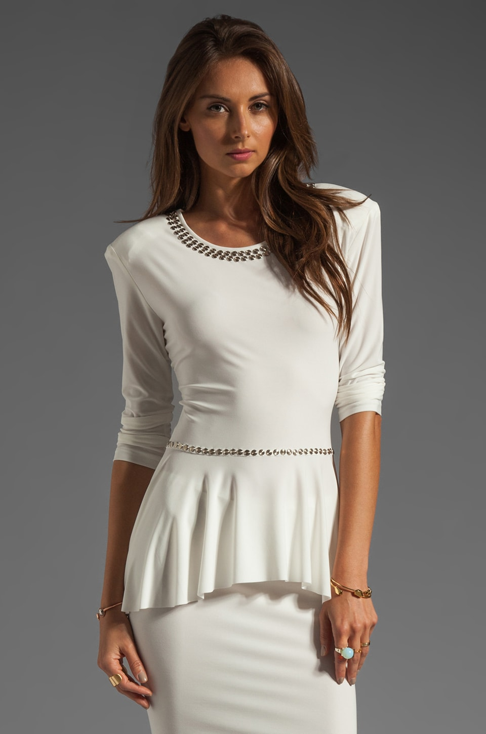 Norma Kamali Modern Vintage Jersey 3/4 Sleeve Peplum Top in White with Silver Studs