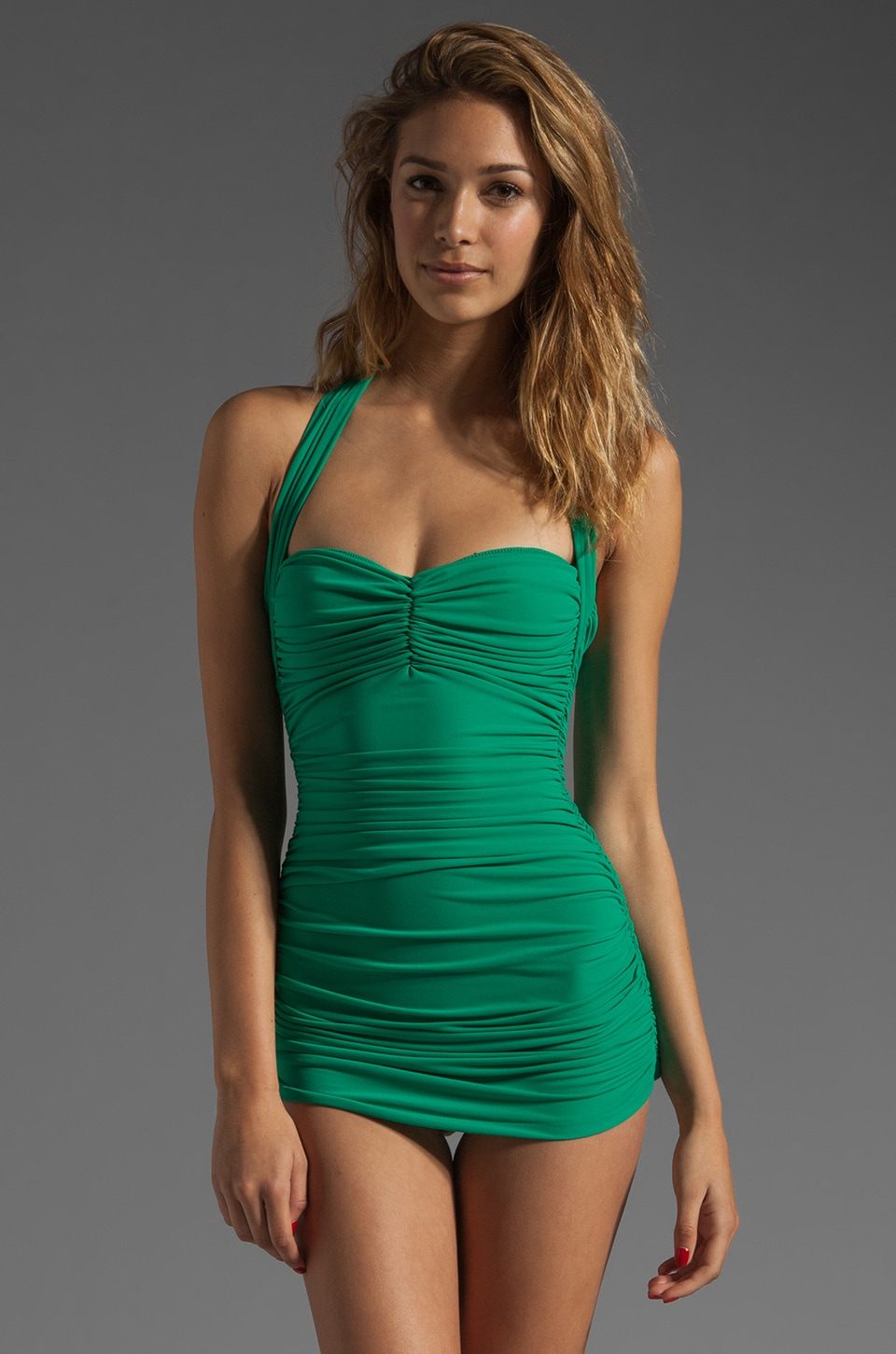 Norma Kamali Bill Mio One-Piece in Net Green