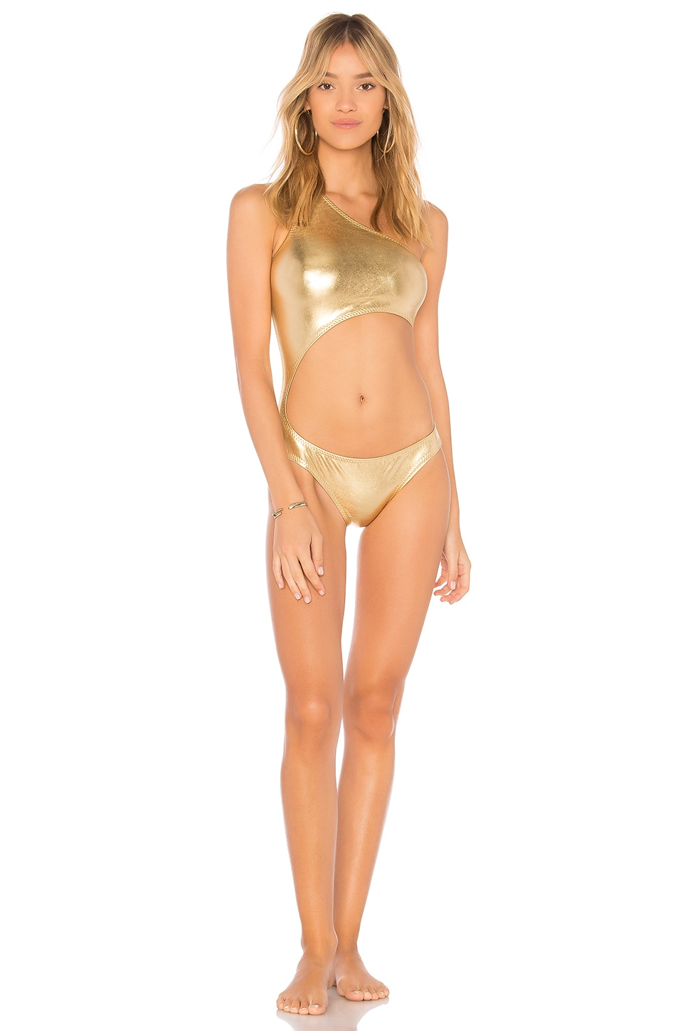 Norma Kamali Shane One Piece in Gold Foil