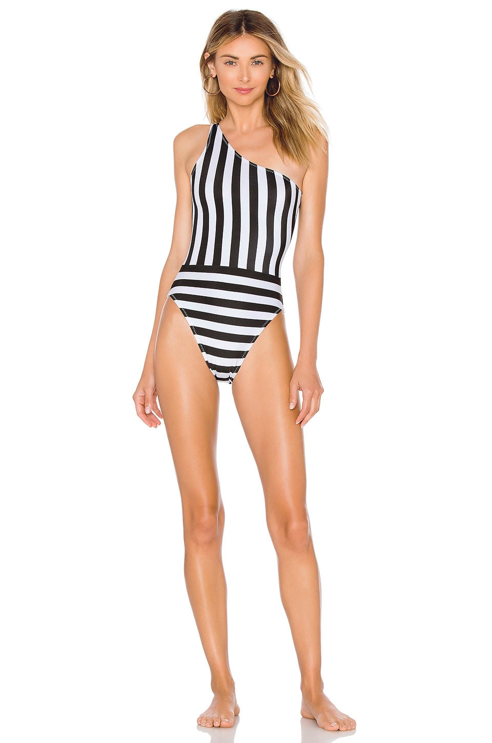 NORMA KAMALI One Shoulder Striped One-Piece Swimsuit in Black